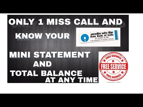 How To Get Mini Statement & Banalce enquiry One missed call in sbi Hindi(without internet & free)