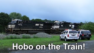 Hobo Riding the Train - Police Arrive! + 3 Passing Trains