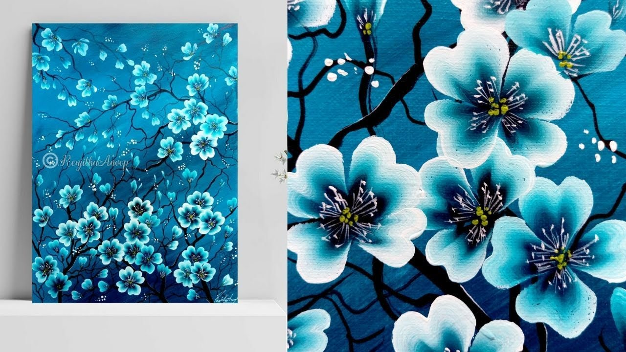 LARGE FLORAL PAINTING BLUE CANVAS ART FLOWERS LEAVES A1