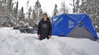 Overnight Winter Camping in Deep Snow (Trout Fishing)