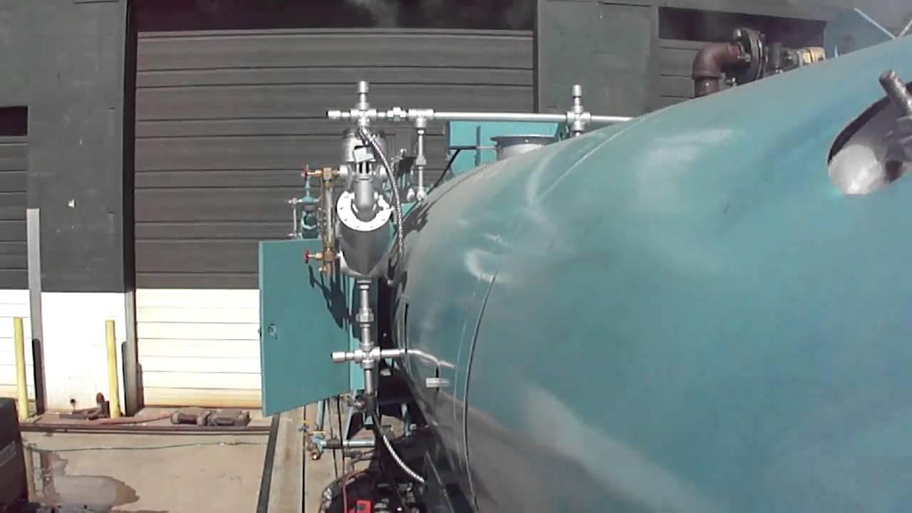 80 HP Cleaver Brooks steam boiler test run - YouTube