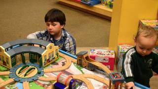 Kids Playing With Thomas Train Table