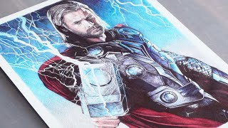 Pen Drawing Of Thor - Chris Hemsworth - Freehand Art