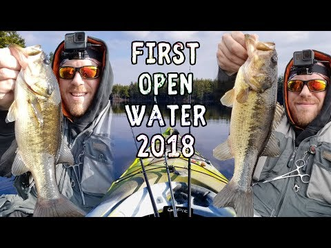 Early Spring ICE OUT Fishing - First Open Water Bass 2018 - Bellamy Reservoir, New Hampshire
