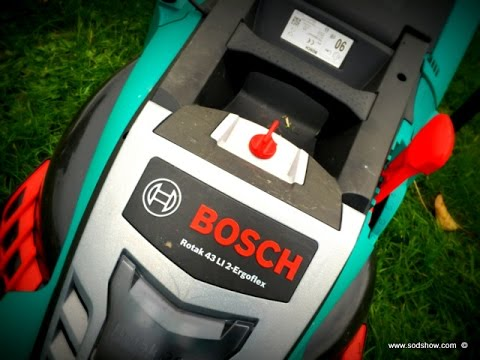 battery powered lawnmower testing bosch rotak 43 li 2. Black Bedroom Furniture Sets. Home Design Ideas