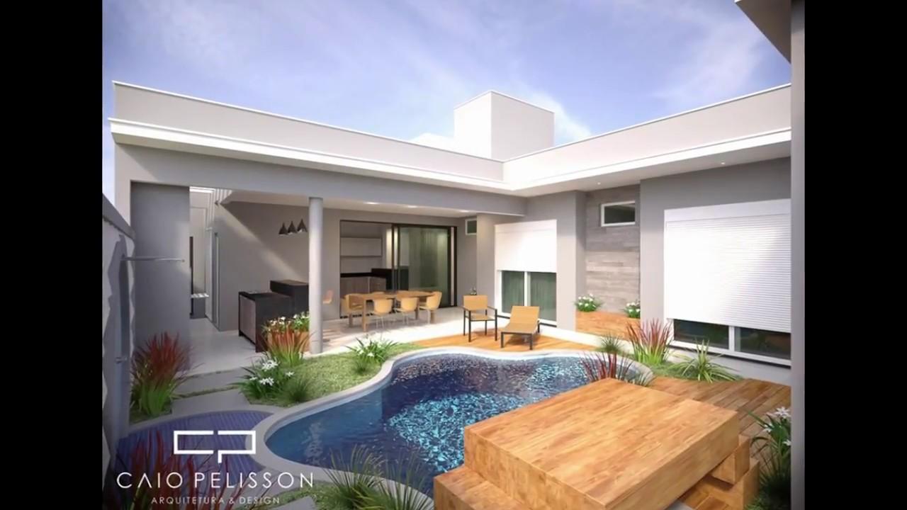 Projeto casa terrea fachada moderna terreno 12x25 for Casa moderna 2 andares 3 quartos