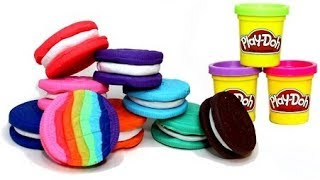 Play Doh Oreo Cookies - How to Make Play Doh Oreos Rainbow Color