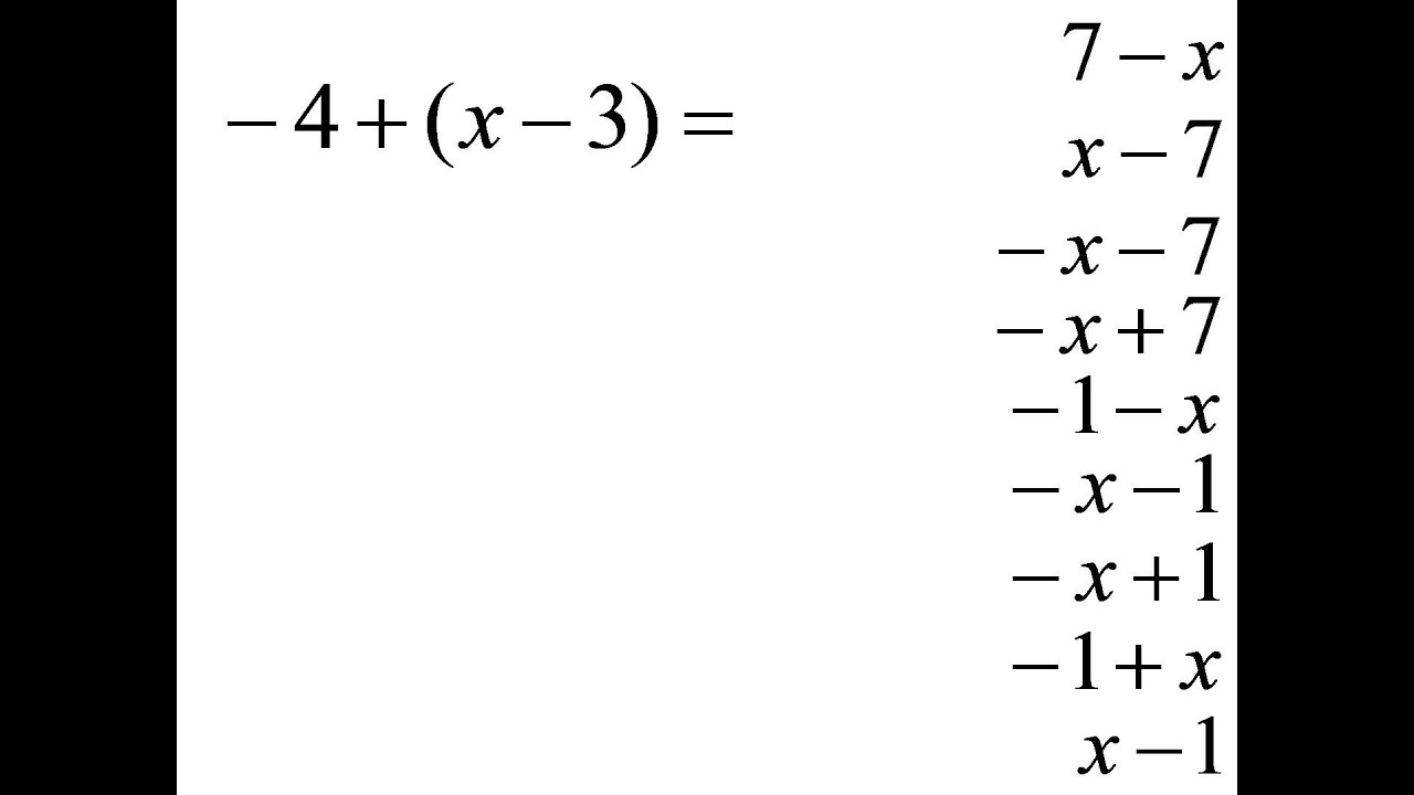 –4+(x–3)=? Combine like terms. Multiple choice question