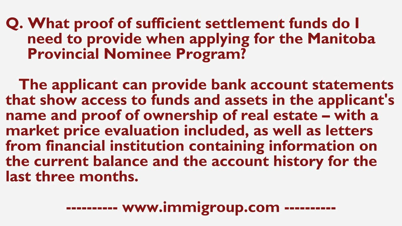 What proof of sufficient settlement funds do I need to provide ...