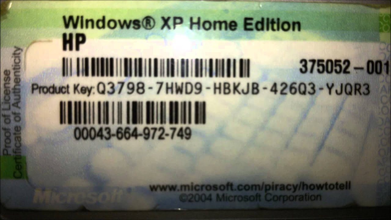 Windows xp home edition key hp youtube for Window xp key