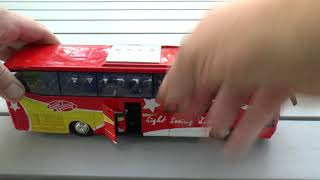 Playing with a toy bus for children