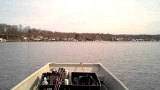 14' Sears Jon Boat With 9.9 Hp Motor On Lake Hopatcong