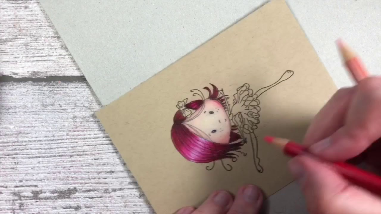 LDRS - Tutorial coloring with pencils on kraft paper - YouTube