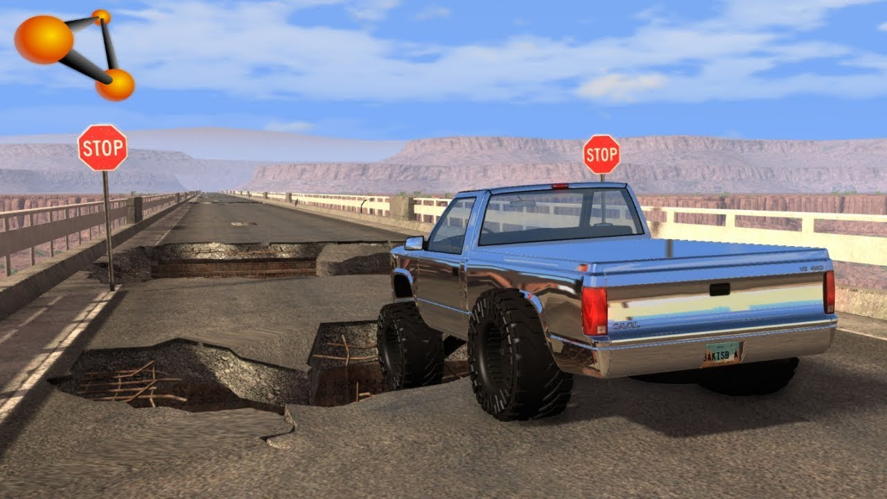 BeamNG.drive - Cars at High Speed Across the Destroyed Bridge
