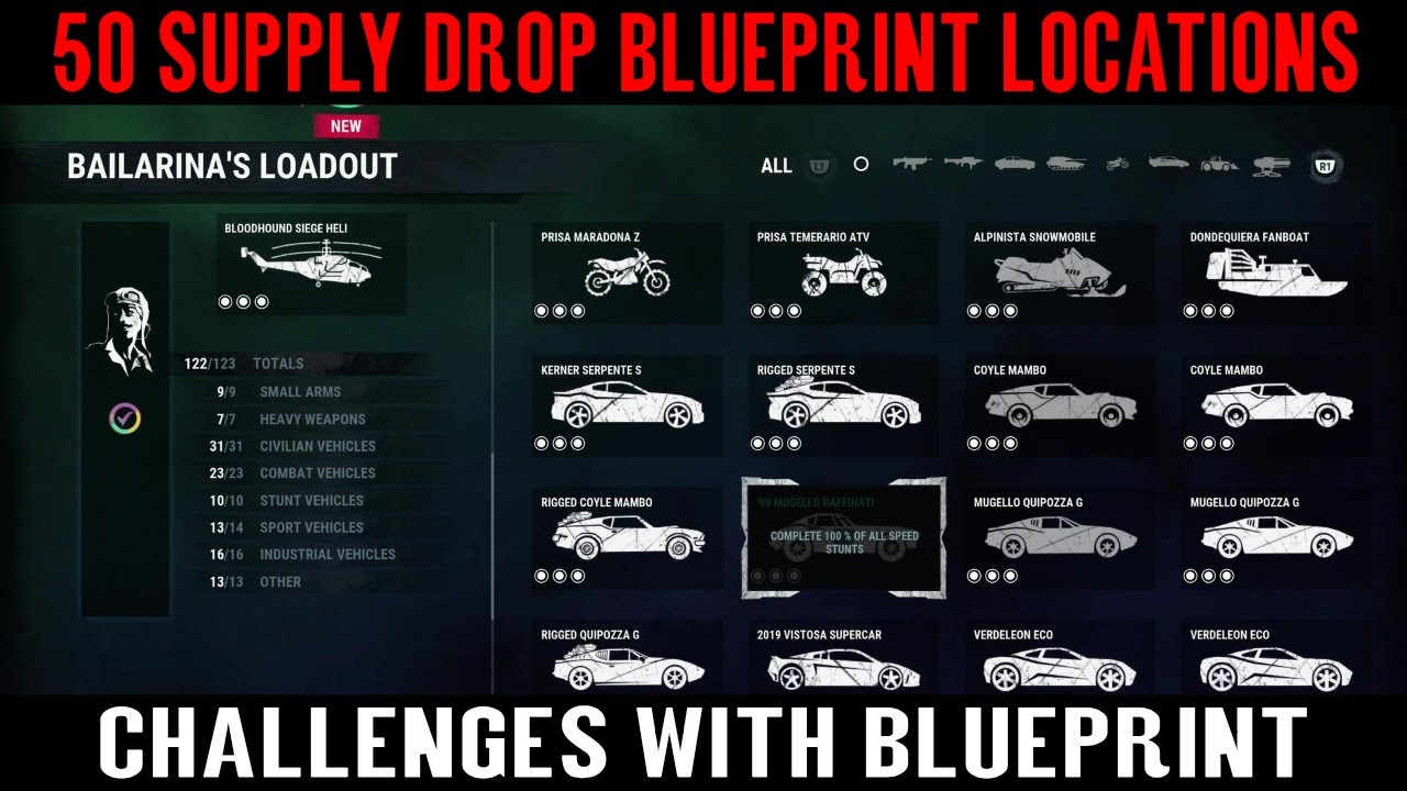 Just Cause 4 - 50 Supply Drop Blueprint Locations - Fully Stocked Trophy  (Supply Drop Blueprint)