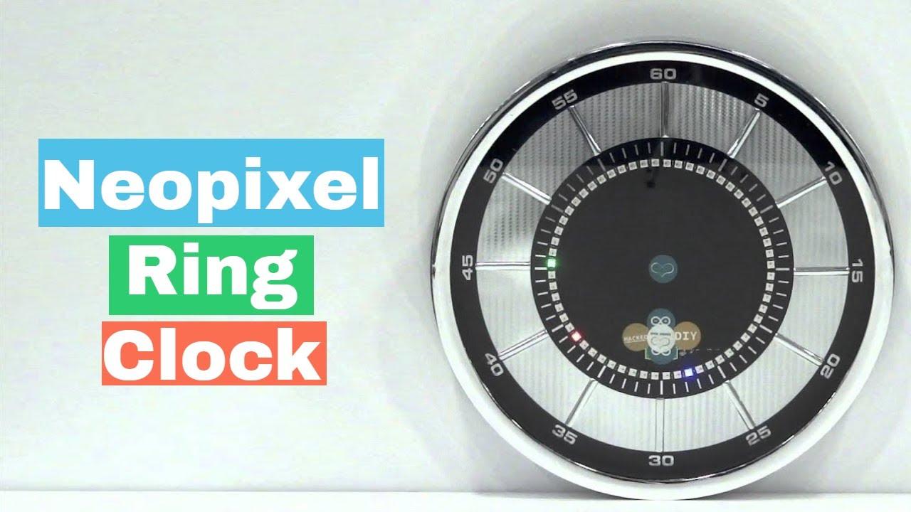 Demo of arduino micro powered neopixel ring clock baba