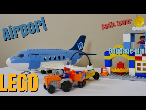 Airport Passenger Terminal With Airplane Jumbo Jet, Lego Duplo Compatible (69 Pcs)
