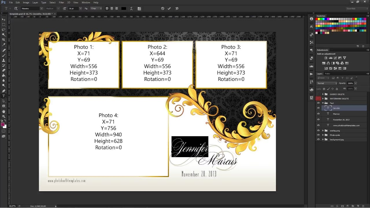 Photoshop CS3+ modifying your photo booth template\'s text - YouTube