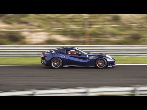 BLUE Le Mans Ferrari F12 TDF - LOUD REVS, Fly-by and INSANE Downshifts!!