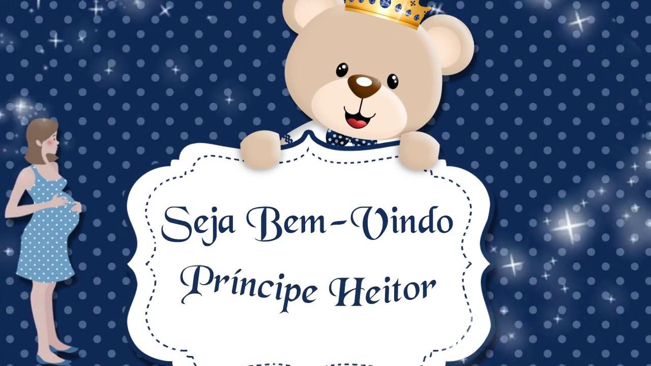 Convite Animado Chá De Bebê Azul Marinho Do Heitor Tamanho G Youtube