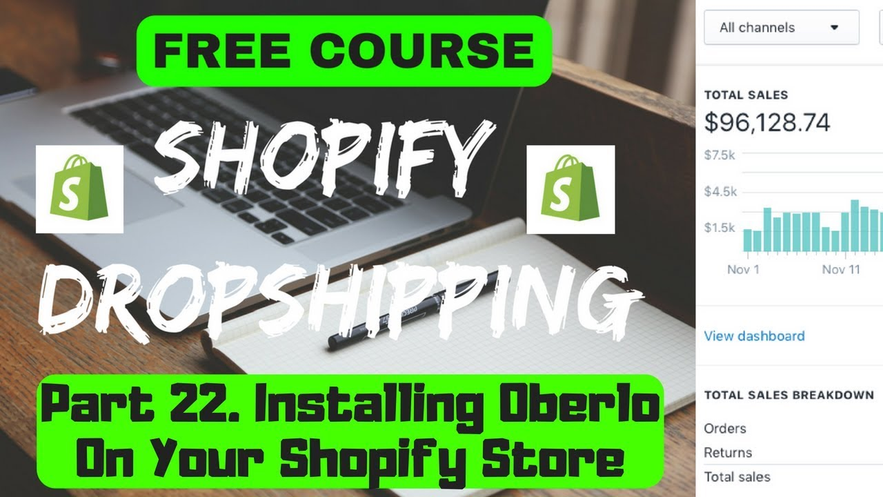 FREE DROPSHIPPING COURSE Part 22  Installing Oberlo On Your Shopify Store