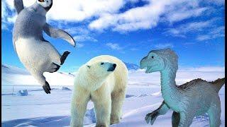 Динозавры в Антарктиде. Урок географии. Встреча с пингвинами, белым медведем и китом.