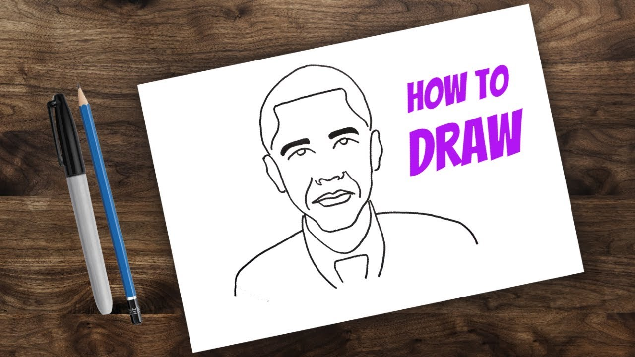 How to Draw Barack Obama for kids | kids cartoon drawing ...