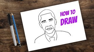 How to Draw Barack Obama for kids | kids cartoon drawing | 44th U.S. President