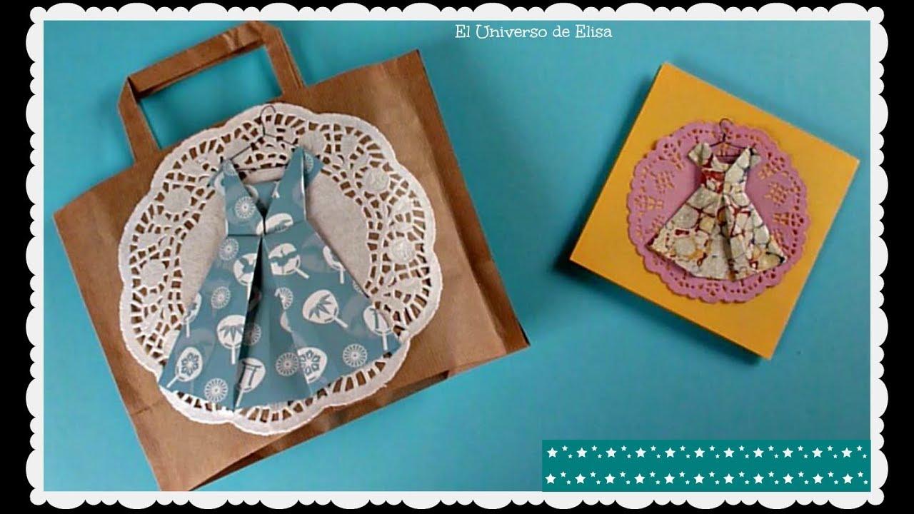 C mo hacer un vestido origami para decorar tus proyectos - Bolsas para decorar ...