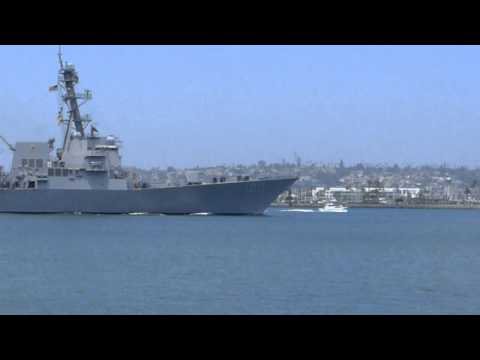 Destroyer USS Kidd DDG 100 arriving in San Diego home port