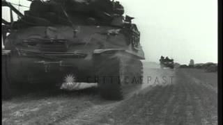 Tanks of United States 7th  Army Division, 87th Reconnaissance Battalion halt and...HD Stock Footage