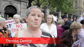 Survivors of Symphysiotomy protest  at Dail Eireann, Ireland 26th June 2013