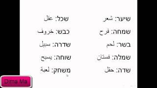 حرف الشين (שין) يلفظ سين, كلمات باللغة العبرية