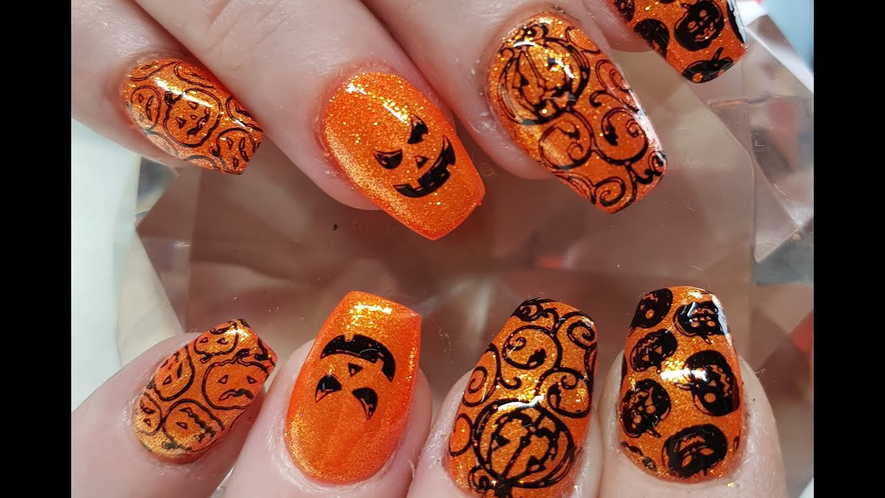 Acrylic Nails l Pumpkin Patch Halloween l Nail Design ...