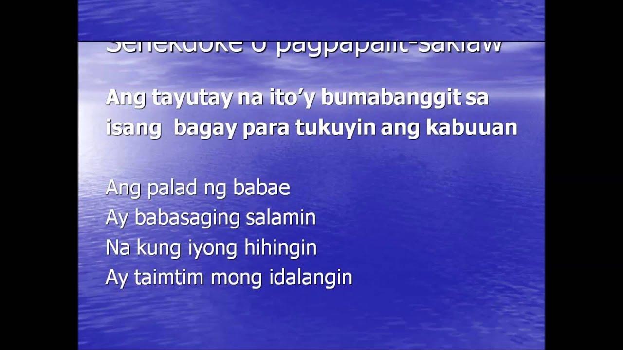 mga tayutay Pinagyayaman ito sa pamamagitan ng paggamit ng tayutay ang mga likhang panulaan ay tinatawag na tula binubuo ang tula ng saknong at taludtod.
