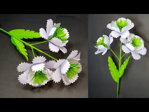 How to make Very Beautiful Creative White Paper Stick Flower | Stick Flower | Abigail Paper Crafts