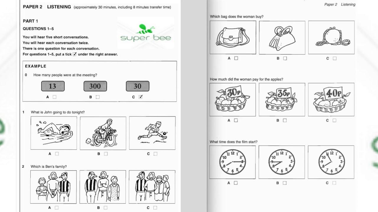 [SB] – KET 1, TEST 2, PART 1 – Luyện nghe Tiếng Anh chuẩn Châu Âu – A2