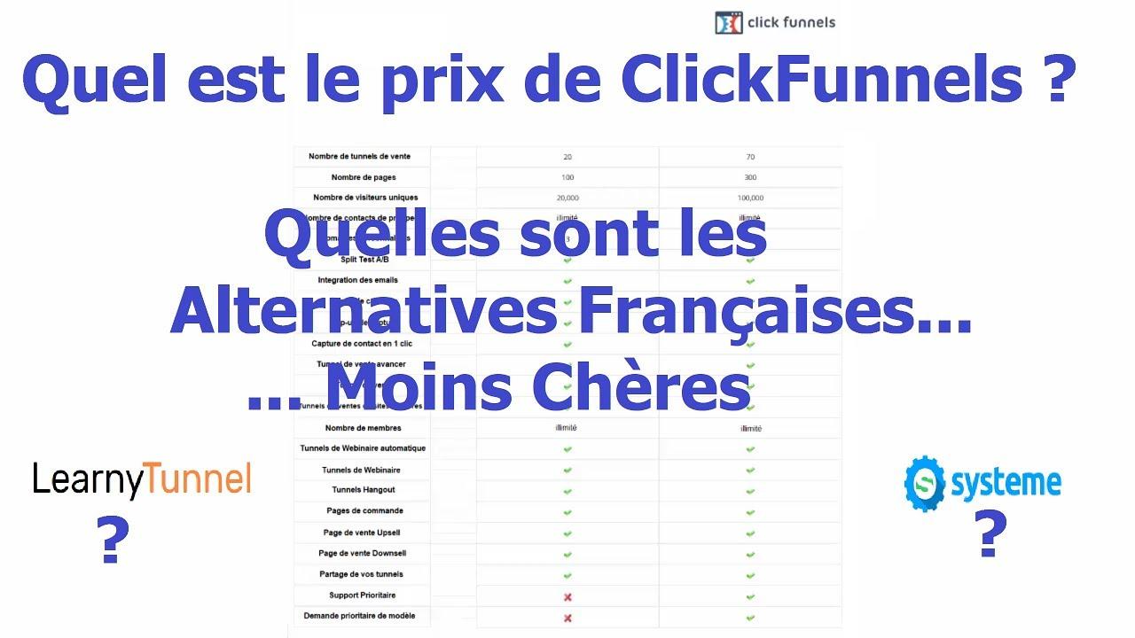 Prix de ClickFunnels en Français Vs LearnyTunnel Vs Systeme.io