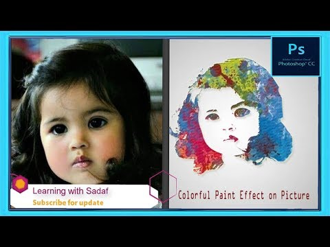 Adobe Photoshop Tutorial | How to make multi color paint Effect on Picture  | Learning with Sadaf. thumbnail