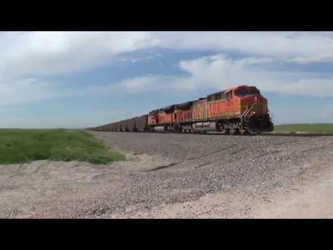 Eastbound loaded BNSF coal train east of Alliance Nebraska