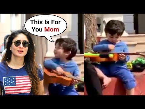 Taimur Ali Khan Playing Guitar For His Mom Kareena Kapoor - Cute Video
