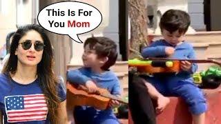 Taimur Ali Khan Playing Guitar For His Mom Kareena Kapoor   Cute Video