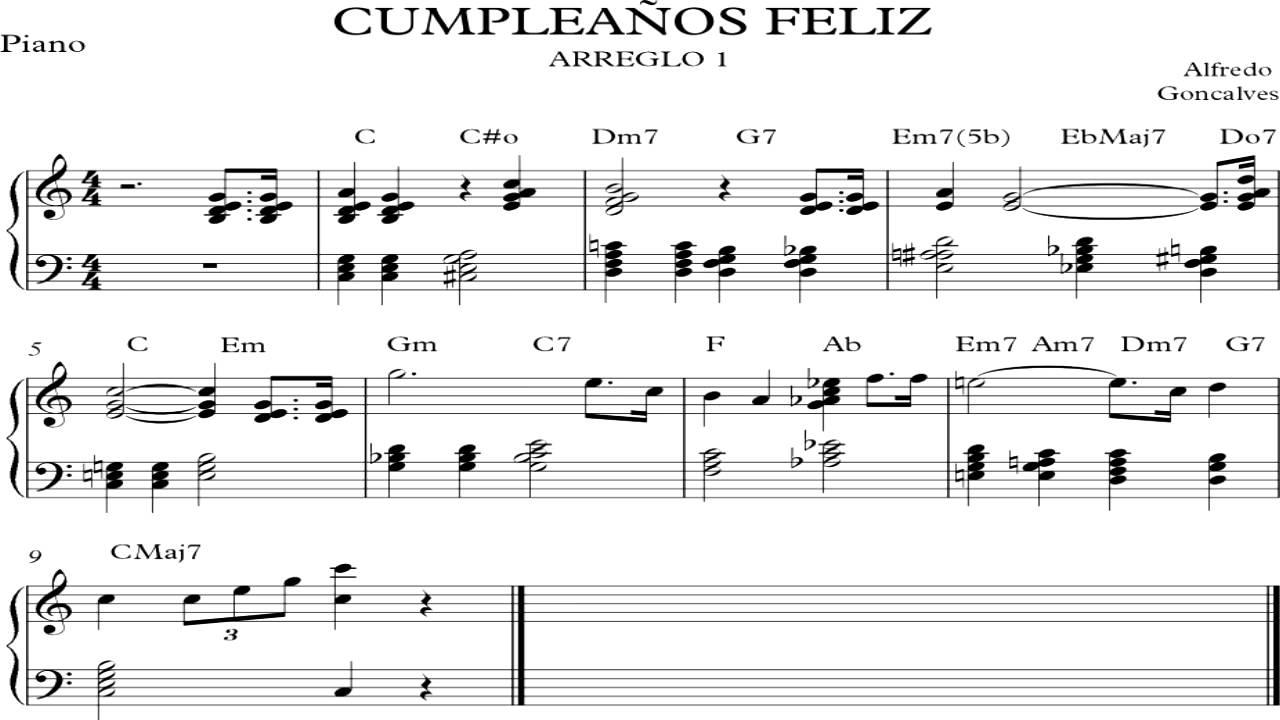 Cumplea os feliz arreglo 1 piano partitura youtube - Cumpleanos feliz piano ...