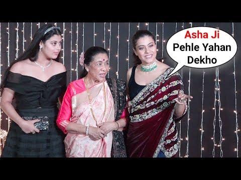 Kajol Teaches Asha Bhosle To Pose For Media At Priyanka Nick Mumbai Reception