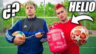 BALÓN RELLENO de HELIO vs de AIRE!! - Helium Football Test