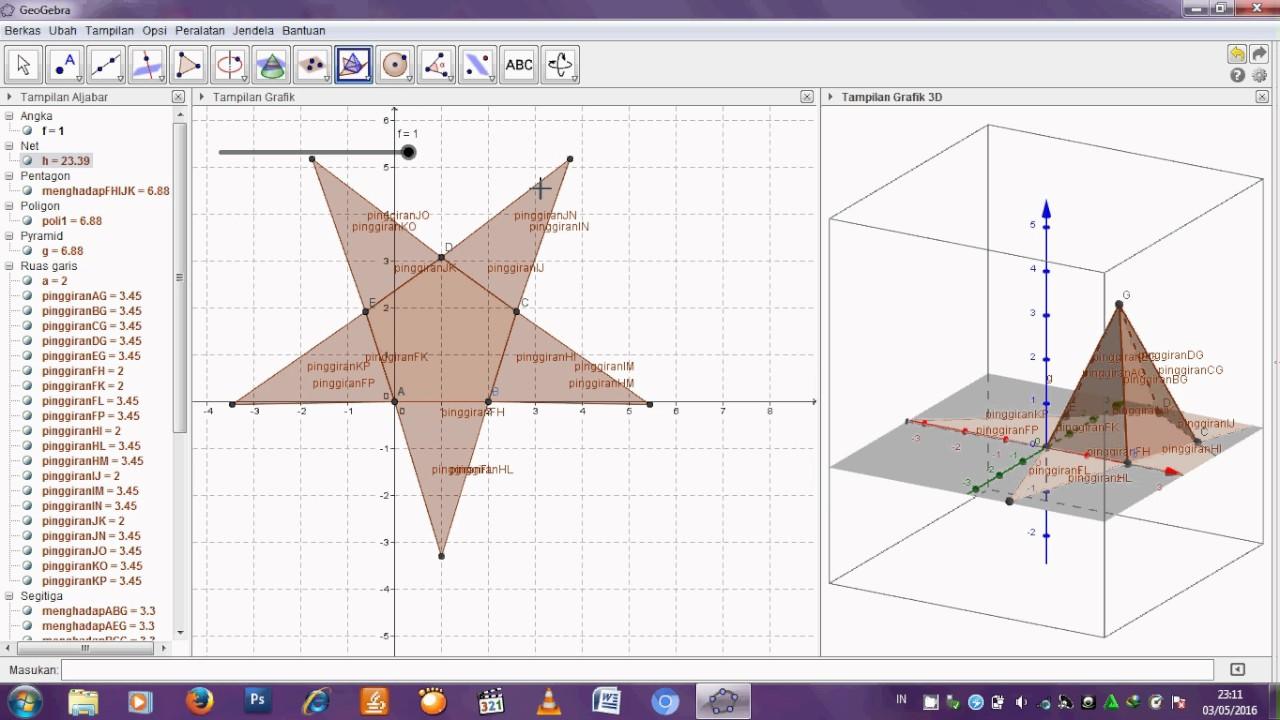 Tutorial membuat jaring-jaring limas segi lima dan mencari ...