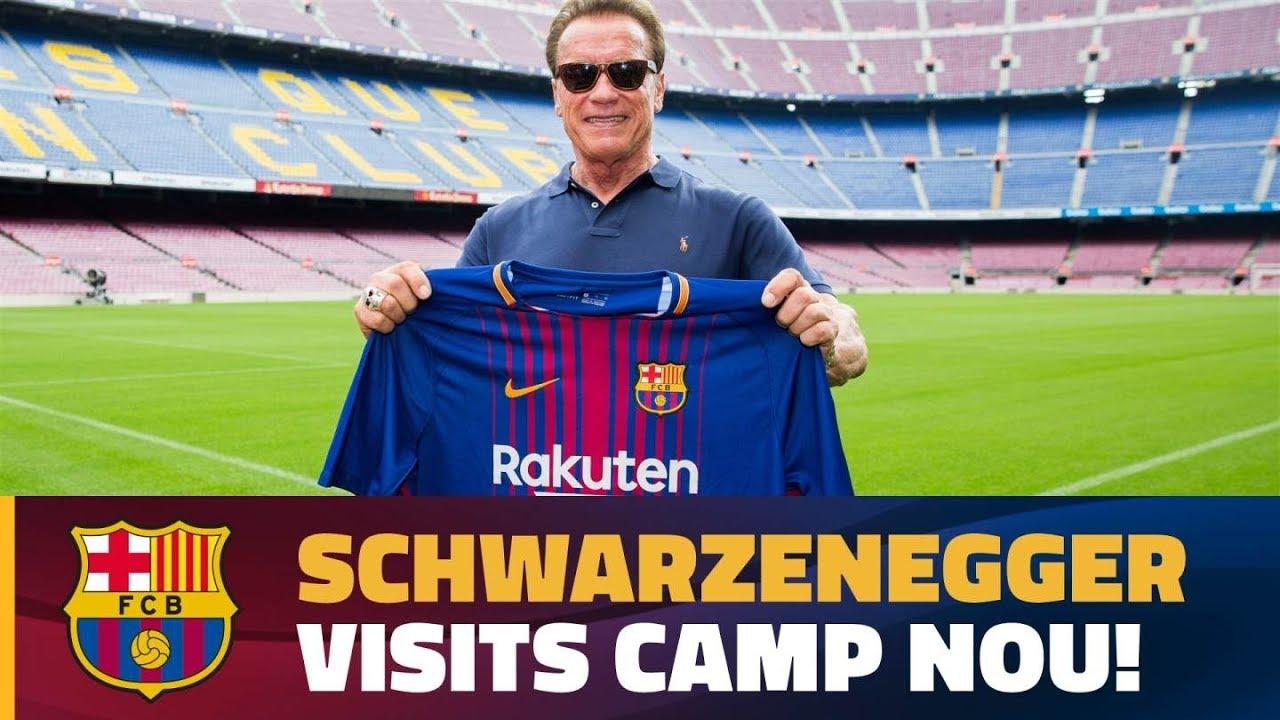 6888eeffcdbd1 Arnold Schwarzenegger visits the Camp Nou! - YouTube