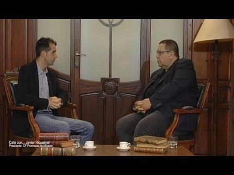 cafe con Javier riquelme presidente club futbol promesas alicante