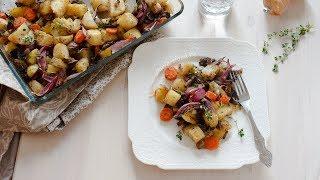 Запечённый картофель с грибами и прованскими травами