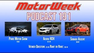 MW Podcast 191: Paris Motor Show, Acura RDX, & Subaru Ascent (audio)